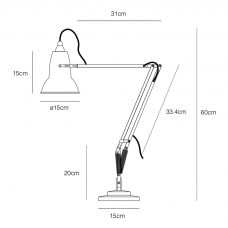 Anglepoise Original 1227 Brass Table Lamp Line Drawing