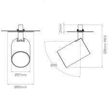 Astro Ascoli Recessed Spotlight Line Drawing