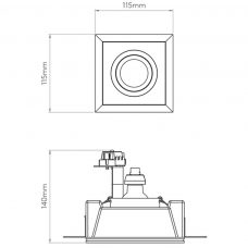 Astro Blanco Square Adjustable Plaster Downlight Line Drawing