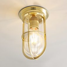 Davey Lighting Ship's Companionway 7203 Ceiling Light Polished Brass Clear Glass On