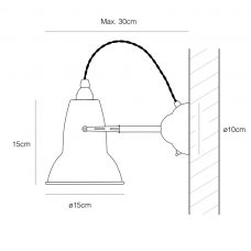Anglepoise Original 1227 Brass Wall Light Line Drawing