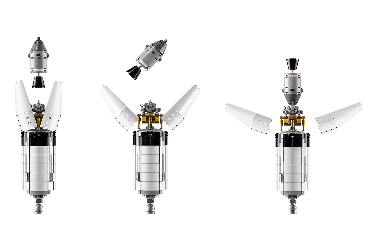 LEGO Ideas Saturn V front section with moon lander