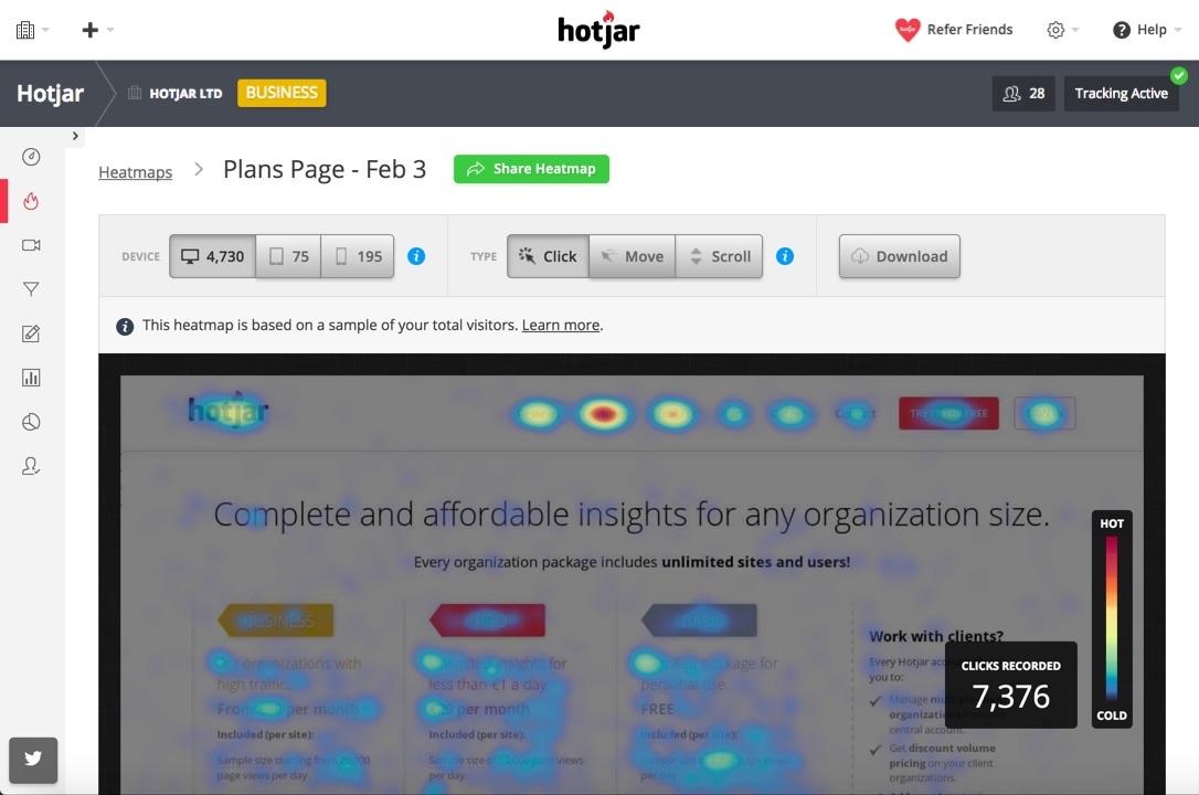 Website Heat Map Example
