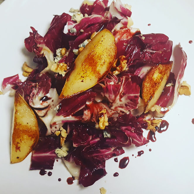 Radicchio, Blue cheese Walnut Salad with pan fried pears and balsamic glaze