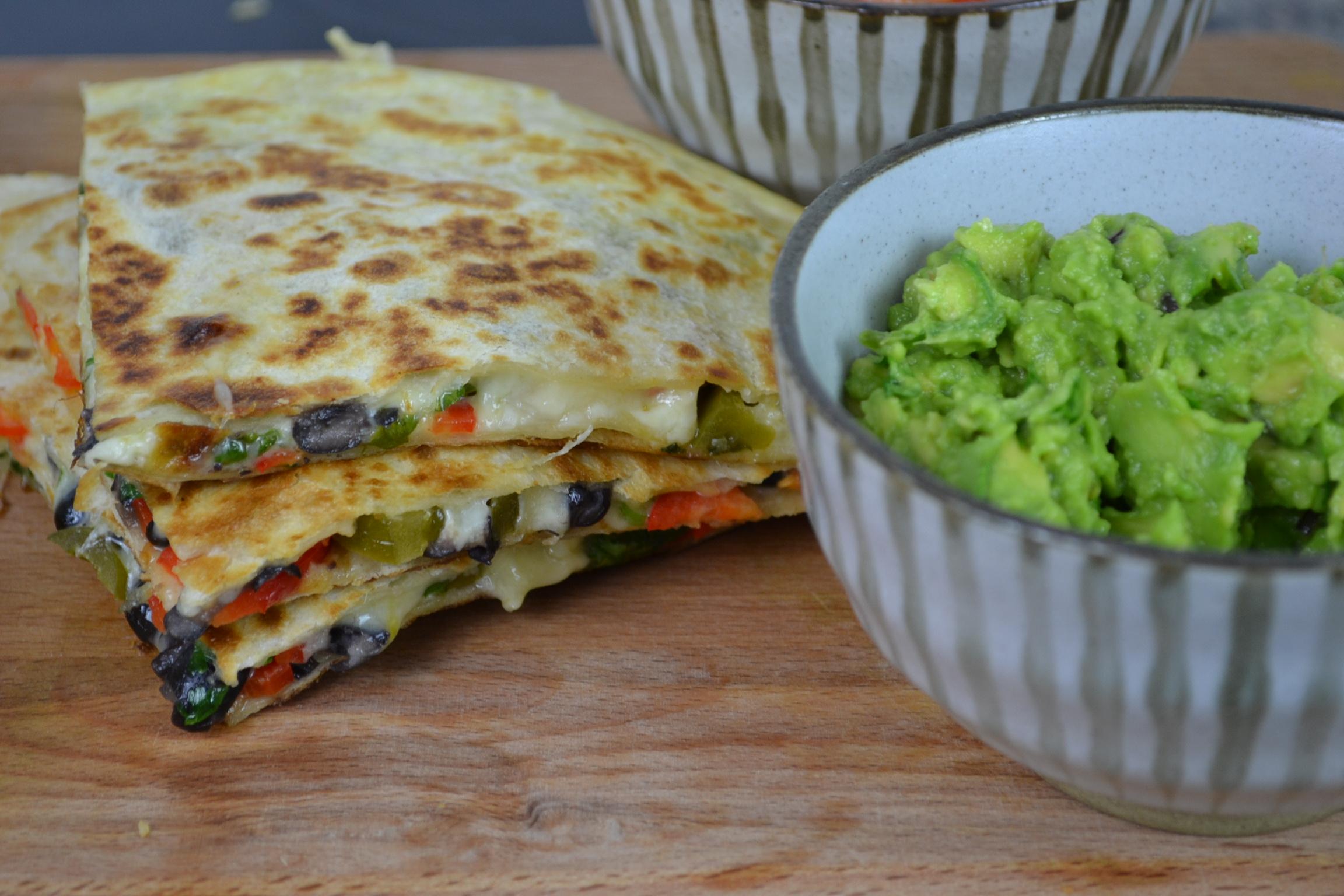 The Best Vegetarian Quesadillas Recipe with Guacamole, Nachos & Tomato Salsa