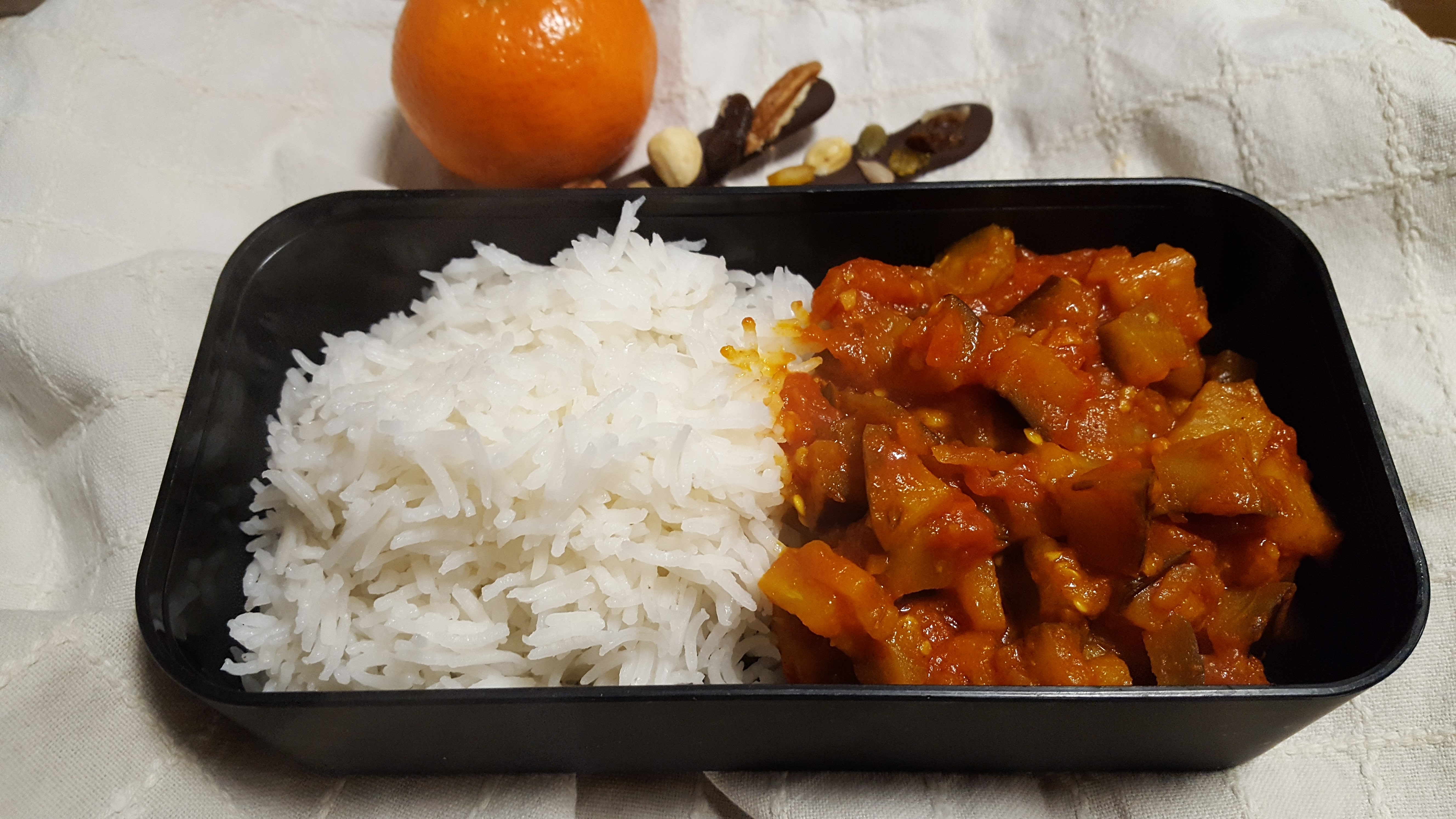 Aubergine & Tomato Stew with basmati rice - Lunch box ideas