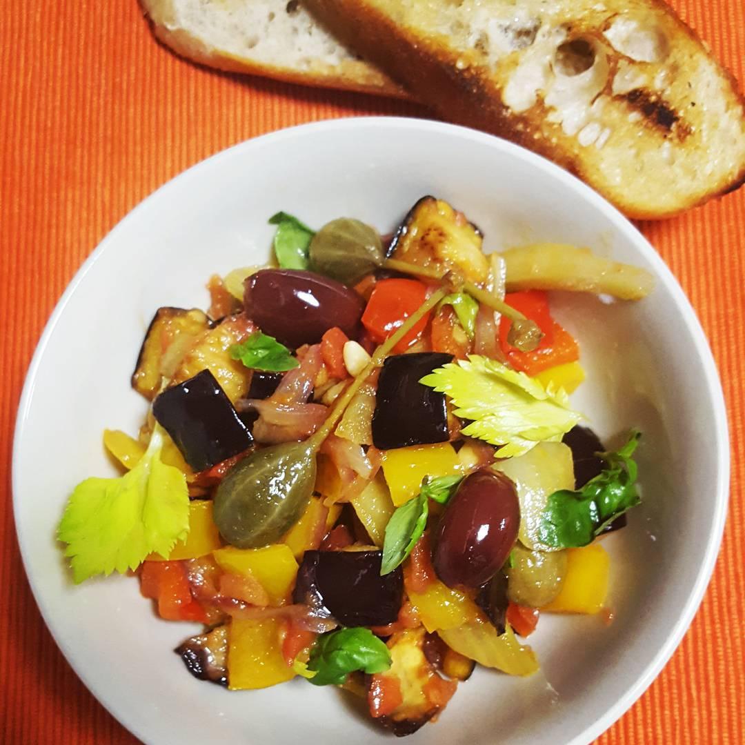 Sicilian Caponata and Garlic Ciabatta - Lunch box ideas