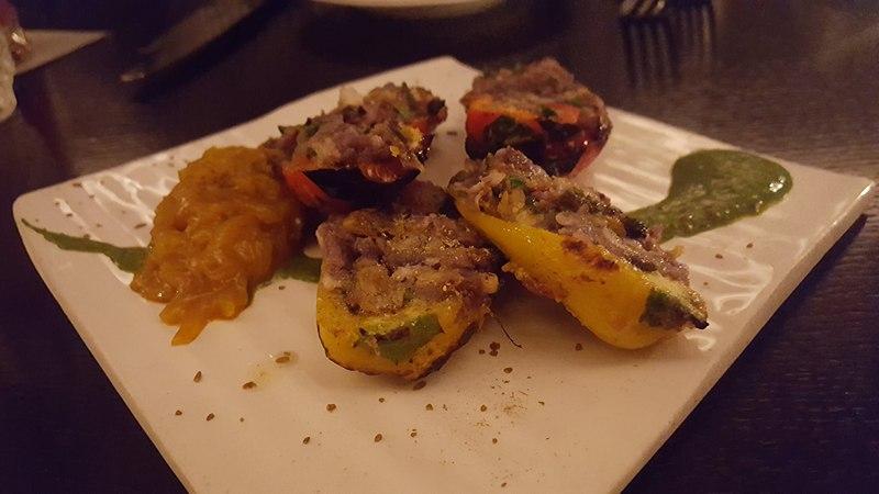 Bharwan Mirchi paneer-stuffed sweet peppers, chopped purple potato & Indian mustard Javamar London Review dontask4salt