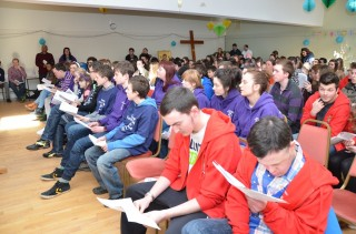Young people from all diocese in Scotland gather for a Palm Sunday celebration in St John's, Perth