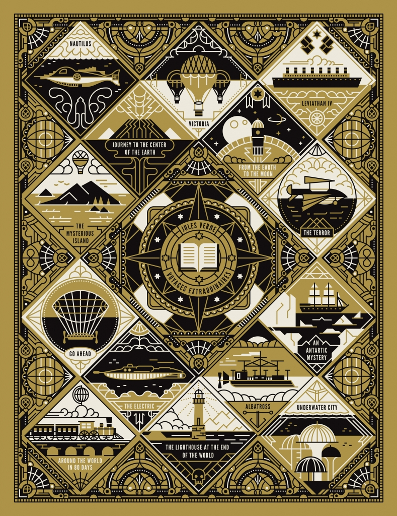 Decorative poster featuring Jules Verne's books