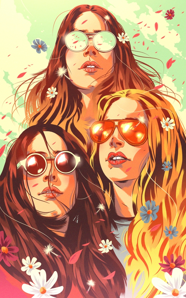 Illustrated portrait of three girls from the band Haim