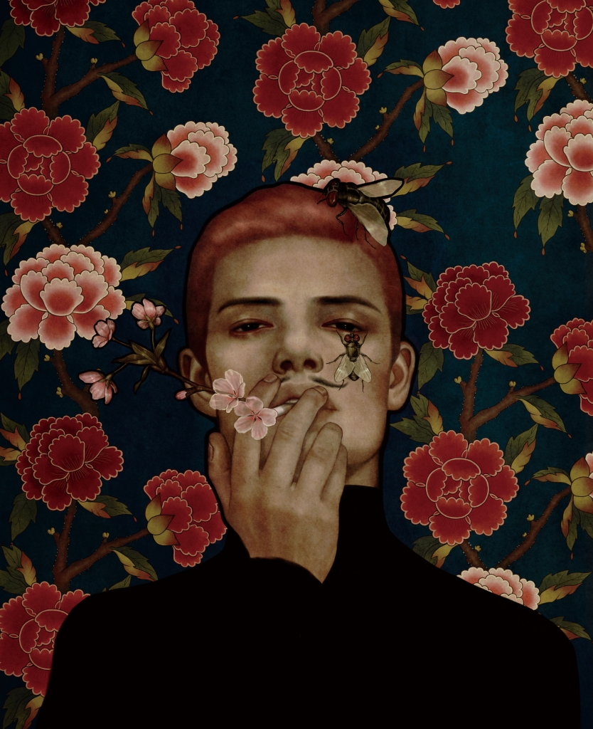 Dark portrait illustration of a man stood infant of a flowery wallpaper design