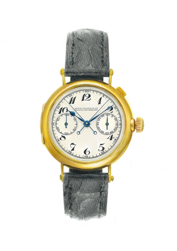 photorealistic painting of a patek philippe wristwatch
