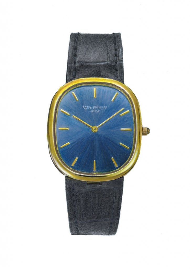 painting of a stylish Patek Philippe wristwatch