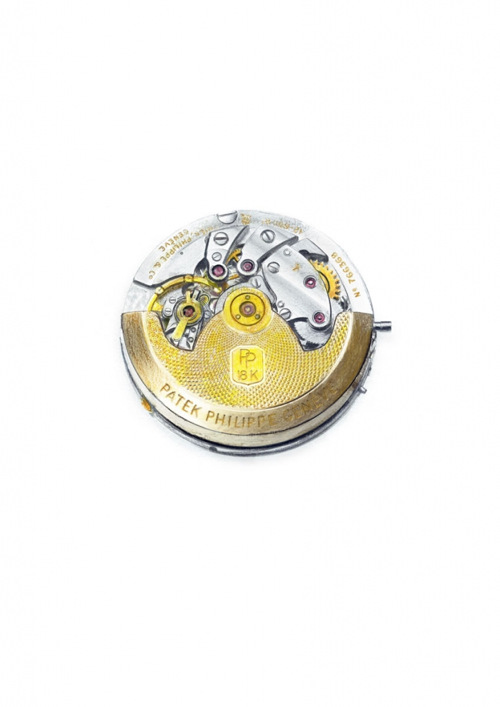 Detailed illustration of the inner workings of a watch