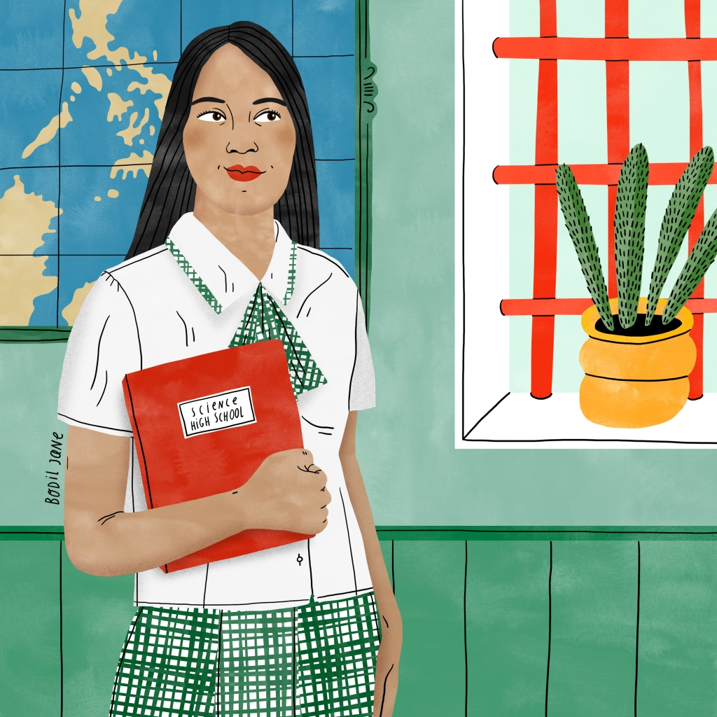 Portrait of school girl in the Philippines