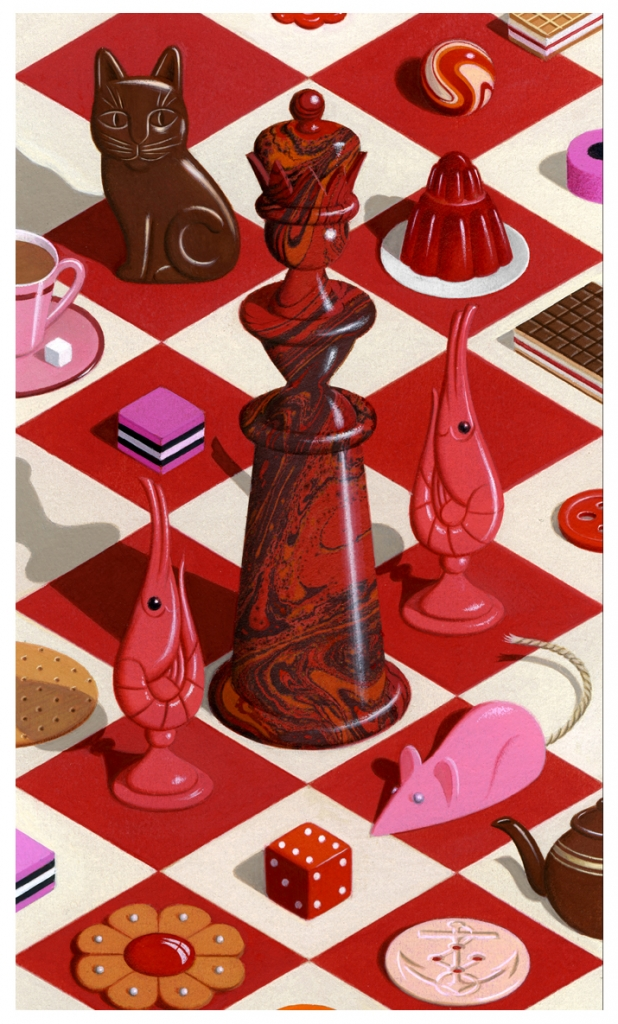 Illustration of a colourful chessboard