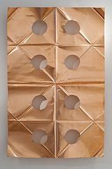Khanlar Gasimov, Walking in 8 bodies simultaneously (2012), Shape of a poet collar cut in copper 90 x 140 cm