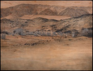 Saad Qureshi, Out in the Dark, 189 x 244 x 5 cm, charcoal, white chalk, graphite, Indian ink on gaboon plywood