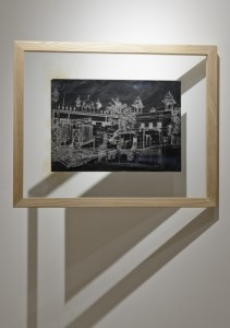 Saad Qureshi: Persistence of Memory M2, (framed) 2012, Carvings on carbon paper, 37 x 46 cm