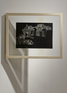Saad Qureshi: Persistence of Memory M11, (framed) 2012 Carvings on carbon paper, 37 x 46 cm