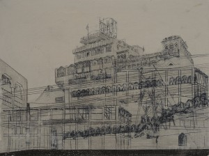 Saad Qureshi: Drought 2012, Oil paint, spray paint, wax pencil on wood, 30 x 40 cm