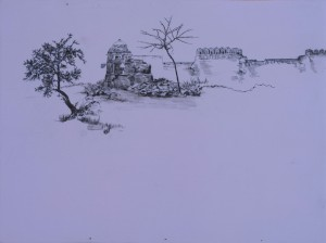 Saad Qureshi: The Serene Land 2012, Oil paint, spray paint, wax pencil on wood, 30 x 40 cm