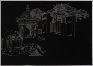 Saad Qureshi: Persistence of Memory M11 2012 Carvings on carbon paper, 37 x 46 cm