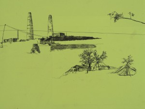 Saad Qureshi: Downslope from hills 2012, Oil paint, spray paint, wax pencil on wood, 30 x 40 cm