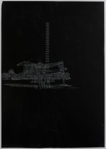 Saad Qureshi: Persistence of Memory M14 2012 Carvings on carbon paper, 46 x 37 cm