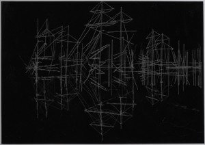 Saad Qureshi: Persistence of Memory M12 2012 Carvings on carbon paper, 37 x 46 cm