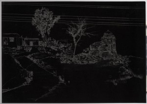 Saad Qureshi: Persistence of Memory M1 2012 Carvings on carbon paper, 37 x 46 cm