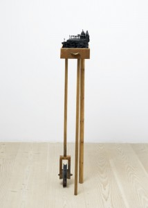 Saad Qureshi: Tottering Pillows 2012 Mixed Media including wood, beeswax and paint, 21 x 40 x 123 cm