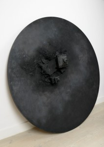 Saad Qureshi: Alone in Earth Below 2012, Mixed Media including wood, leather and paint, 200 cm diameter