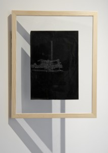 Saad Qureshi: Persistence of Memory M14, (framed) 2012 Carvings on carbon paper, 46 x 37 cm