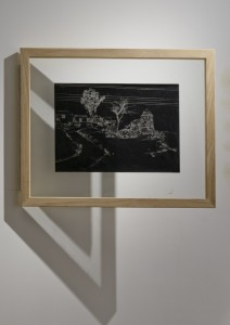 Saad Qureshi: Persistence of Memory M1, (framed) 2012 Carvings on carbon paper, 37 x 46 cm