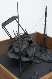 Saad Qureshi: Night Before (Detail) 2012 Mixed Media including wood, beeswax and paint, 45.5 x 38.5 x 155 cm