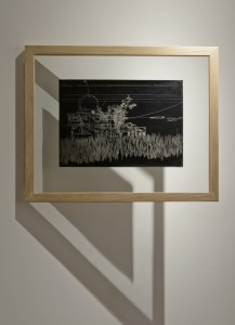 Saad Qureshi: Persistence of Memory M4, (framed) 2012 Carvings on carbon paper, 37 x 46 cm