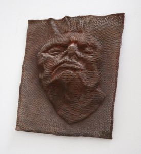Jane Mcadam Freud: Mesh Head 3 1995, Bronze Mesh, found object, 27 x 23 cm
