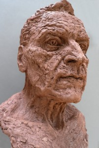 Jane Mcadam Freud: Portrait of my father (2012), Terra cotta and Sand, 50 x 32 x 40 cm