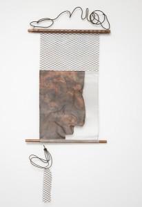 Jane Mcadam Freud (2010): Mesh Head Medal, Bronze mesh, aluminium mesh, found metal, copper tube, 118 x 50 cm