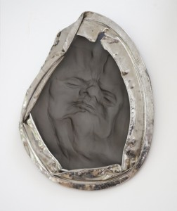 Jane Mcadam Freud: Mesh Head 1 1995, Found object, aluminium in rim, 32 x 33 cm