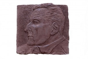 Jane Mcadam Freud: Plaque (2012), Terra cotta and Sand, 26 x 25 x 2 cm