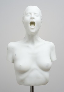 Olympia Scarry, The yawner (2012), Marble, Bianco Statuario Michelangelo from Carrara, stainless steel Life size bust of the artist