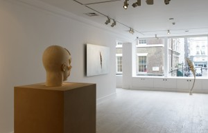 Installation view: Aron Demetz, Front, 2012, Shan Hur, Crack on the Wall #1, 2013, Shan Hur, Tree #4 (Pacho), 2013