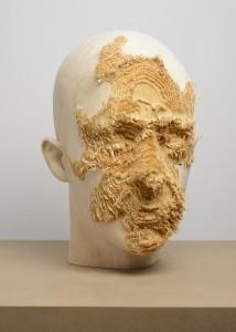 Aron Demetz, Front (detail), 2012, Limewood, 50 cm x 40 cm x 62 cm