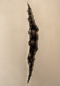 Shan Hur, Crack on the wall #3 (detail), 2013, bronze, 100 cm x 90 cm x 7 cm