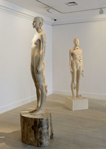 Exhibition Display: Aron Demetz, Sud, 2012 (left); Aron Demetz, Pholiota Denuntians, 2011, (right)