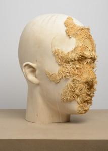 Aron Demetz, Front (detail, side profile), 2012, Limewood, 50 cm x 40 cm x 62 cm