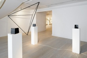 Sergio Calderon, The World Is A Set Of Distinct Things With Varied Edges, 2013. 5 Interactive Light and Sound Sculptures, 20x20 cm Credits: produced by Nanika and The Unlimited Dream Company Music: Chihei Hatakeyama Architect: Teruyuki Nomura Sergio Calderon, Tetrahedron, 2013, Corten Steel (Black gloss), dimension Variable Credits: Architect: Teruyuki Nomura